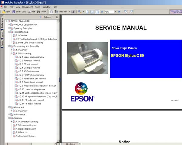 epson c60 printer service manual and parts list service manuals download service  epson stylus c60 service manual