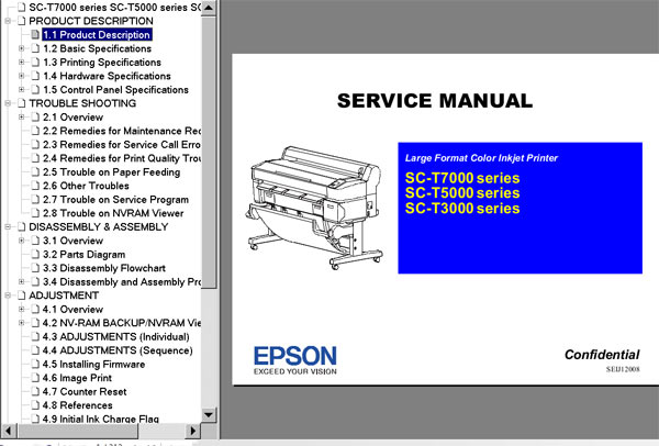 Epson Sure Color SC-T3000 Series, SC-T5000 Series, SC-T7000 Series Service Manual <font color=red>New!</font>