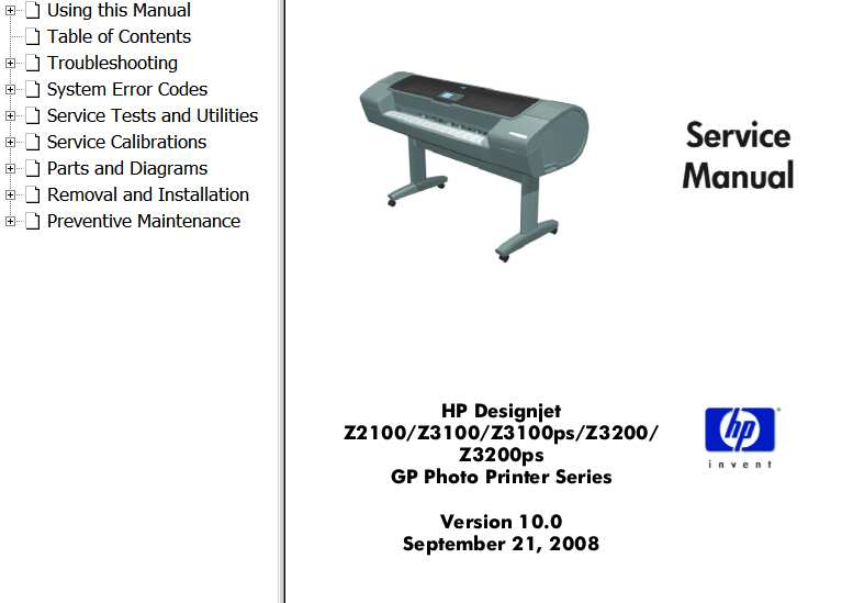 HP Designjet Z2100, Z3100, Z3100ps, Z3200, Z3200ps Printers Series Service Manual and Parts List and Diagrams